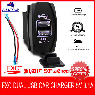 DC 12V 4 In 1 Dual USB Outlet Car Charger W/ Cigarette