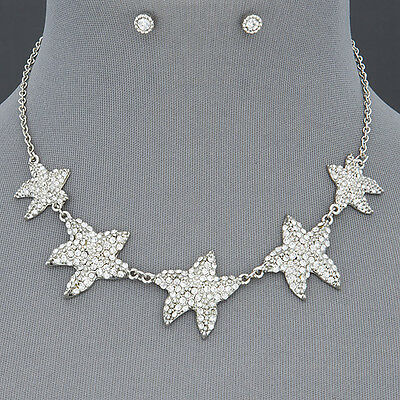 Rhodium Silver Chain Star Fish Design Clear Stone Design Necklace With Earrings