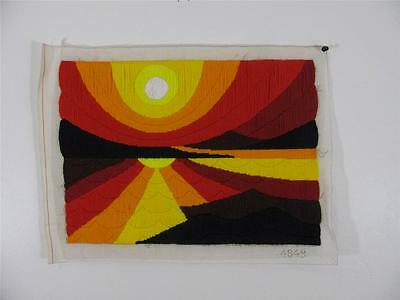 Mid Century 70s TEXTILE ART Embroidery POP OP Bold SUN RISE WALL HANGING