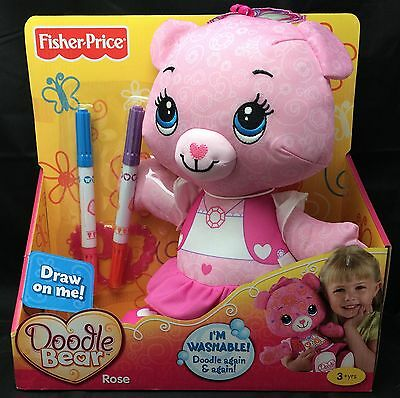 Fisher-Price Doodle Bear Rose Washable Pink Stamp Draw Toy NIP See Description
