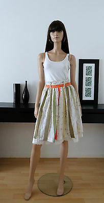 Jupe vintage 80s blanche rayures et motifs taille 36 / broderie anglaise