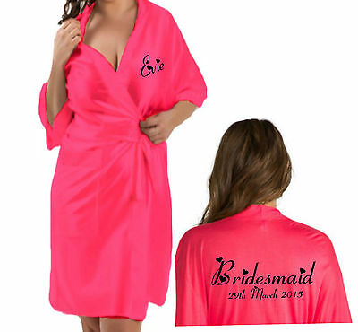 Personalised Bridal Wedding Robe / Gown in HOT PINK satin Bride Gift Bag option