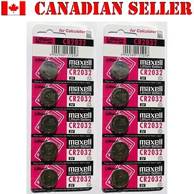 10 NEW MAXELL CR2032 DL2032 Batteries coin watch battery. Expiration: Dec 2020