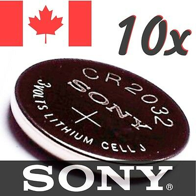 10 Pcs CR2032 Lithium Battery DL 2032 Sony 3V coin cell button bouton pile.