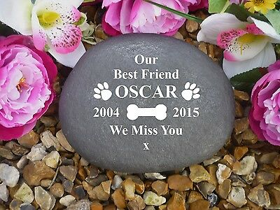 Pet Memorial - Personalised Large Pebble (Stone Effect) Weatherproof - Paws/Bone