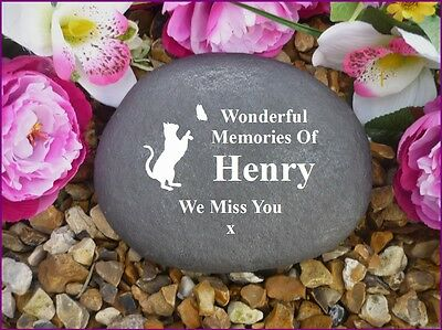 Cat Memorial - Personalised Large Pebble (Stone Effect) Weatherproof - BFly