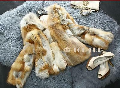 100% Real Genuine Fur Coat Red Fox Fur short Jacket Women Outwear warm beautiful