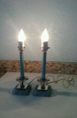 Vintage Pair of Small Boudoir Table Lamps Lights French Art Deco  Blue Shabby