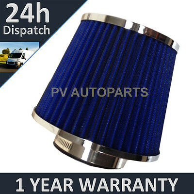 Blue & Chrome Universal Polished Car Cotton Air Filter With Adaptors