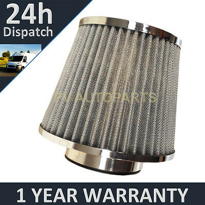 Silver Universal Polished Car Cotton Air Filter With Adaptors