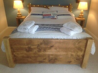 """New Solid Wood Rustic Chunky Plank Wooden 4'6"""" Double Bed With Plank Footboard"""