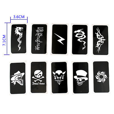10x Airbrush Stencils Pirate Skull for Body Paint Temporary Tattoo 7.1cmx3.6cm