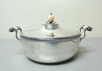 ANTIQUE SILVER PLATE 3-PIECE BUFFET SERVER w/ BONE HANDLES & PINEAPPLE FINIAL