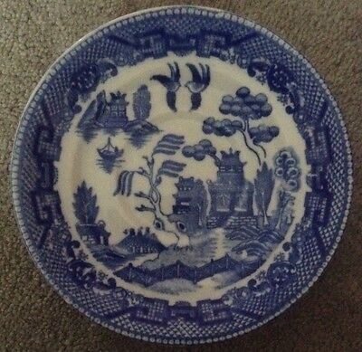 Blue And White Round Saucer  - Willow Print