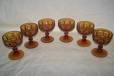 6 Glass Amber Imperial Provincial Thumbprint Sherbets/Wine Glasses