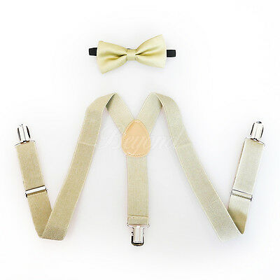 Beige Suspender and Bow Tie Set for Baby Toddler Kids Boys Girls (USA Seller)