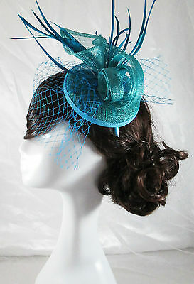 Blue Fascinator Sinamay Races Hat Melbourne Cup Spring Carnival Derby Dahlia