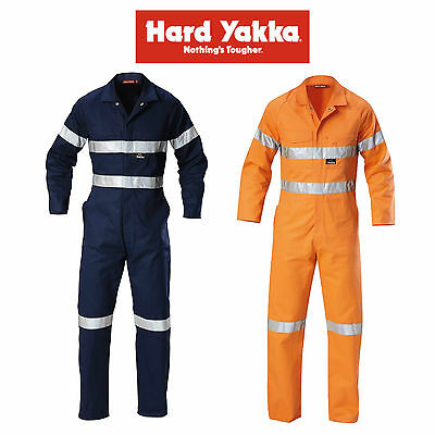 Mens Hard Yakka Hi-Vis Coverall Overalls Cotton Drill with Tape Workwear Y00122