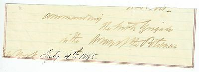 Vintage July 4th 1865 Handwritten slip of paper - Army of the Potomac