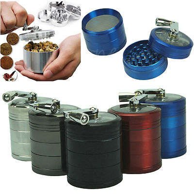 Hand Crank 4-layer Tobacco Herb Spice Grinder Crusher Muller Mill Metal Storage