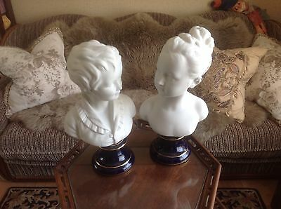 Rare Biscuit Busts Of Boy and Girl Limoges MNP By Jean-Antoine Houdon 1777