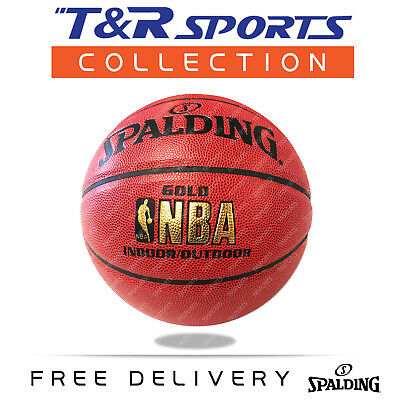 Size 7 Spalding Red Blue Man Leather Basketball Ball Indoor/Outdoor Free Postage
