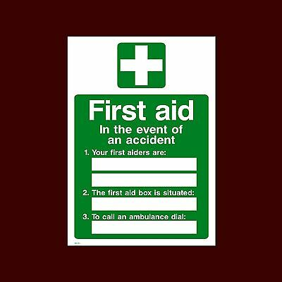 First Aid In Event Plastic Sign, Metal, Foamex, Sticker  A6, A5, A4 (MISC153)