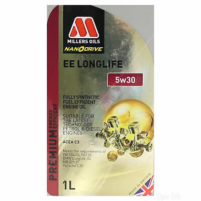 Millers Oils NANODRIVE EE LongLife 5W-30 5W30 Full Synth Engine Oil - 5 Litres