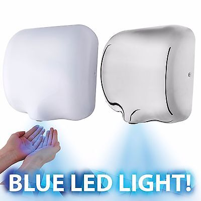 Automatic Hand Dryer Auto Electric High Force Air Speed Dryers Blue Led Light