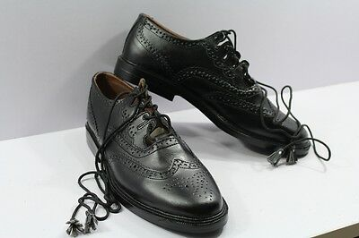 Piper & Drummer Ghillie Brogues Black Leather.