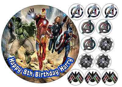 Edible Marvel Avengers Hulk Iron Man Thor Super Hero Icing Birthday Cake Topper