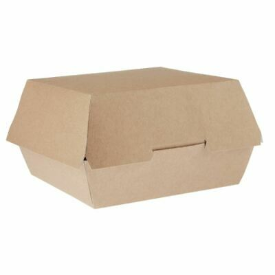 250X Disposable Kraft Burger Boxes Large Cardboard Takeaway Recycled Flatpacked