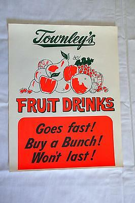 Vintage Townley's Dairy Fruit Drinks Advertising Sign Glows in Black Light! OKC