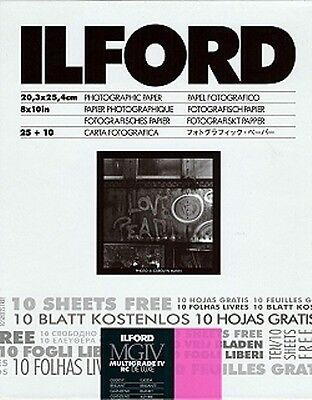 Ilford Multigrade IV RC Deluxe MGD.1M 8x10 35 Sheets Glossy B&W Paper 1170773