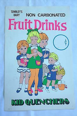 Vintage Townley's Dairy Fruit Drinks Advertisement Poster GLOWS Black Light! OKC