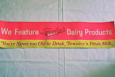 "Vintage Townley's Dairy Advertisement BANNER Glows In Black Light! 42"" LONG! OKC"