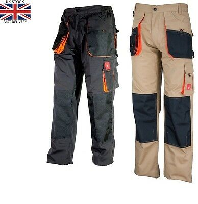 2 Pairs Work Trousers Mens Cargo Combat Style Work Wear Pants Knee pads pockets