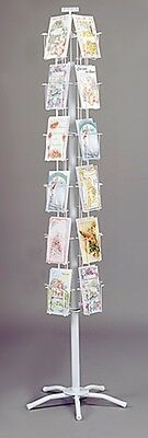 "5""W x 7""H Greeting Card Floor Rack Spinning Retail Display 24 Pockets White NEW"