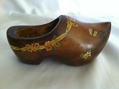 Antique Hand Painted Wooden Shoe   - Vintage Folk Art Piece!