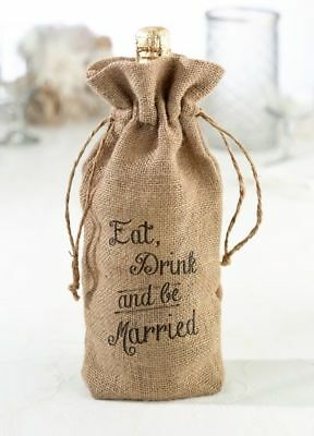 New Wedding Eat Drink Married Hessian Burlap Wine Bottle Bag Rustic Decoration