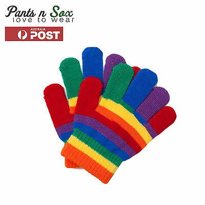 Kids Unisex Rainbow Knitted Winter Glove Boy Girl Children Winter 2-4 4-8 Years