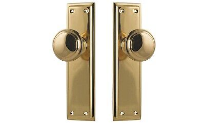 """DOOR KNOBS / handles-""""MILTON""""-HEAVY DUTY-POLISHED BRASS-forged brass-entrance"""