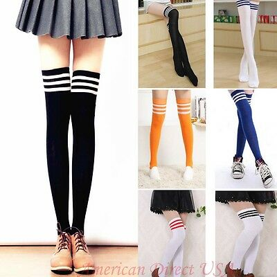 Women's Thigh High Over-Knee Athletic Soccer  Sports Fashion Tube Socks Stocking