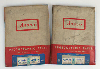 5x7 ANSCO CYKORA 3 PHOTOGRAPHIC PAPER, SET OF 2 EXPIRED
