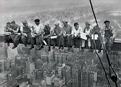 Lunch On a Skyscraper New York City Poster Art Print Classic NYC 1930s vintage
