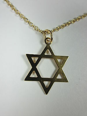 """Gold Plated Magen David Star of David Pendant Necklace 20"""" Chain"""