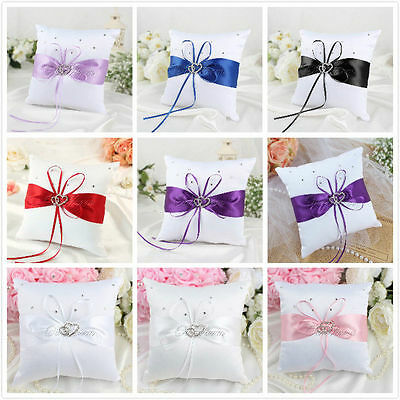 """White Bridal Wedding Ceremony Ring Bearer Pillow Cushion Crystal Double Heart 4"""""""