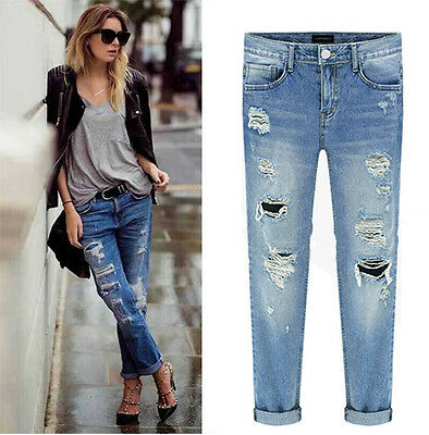 Jeans Destroyed Ripped Distressed Straigh Boyfriend Cropped Women Washed Denim