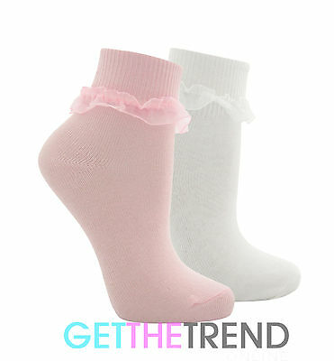 TICK TOCK Cottonique Girls Pink Frilly Lace Organza Socks Girls Lace School Sock
