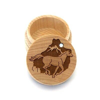 Horse Running Maple Wood Carved Round Trinket Box Inlaid Mother of Pearl